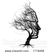 Vector Illustration of Optical Illusion Bare Tree Face Guy Silhouette by AtStockIllustration