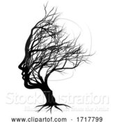 Vector Illustration of Optical Illusion Bare Tree Face Lady Silhouette by AtStockIllustration