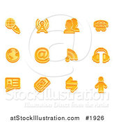 Vector Illustration of Orange Communication Icons by AtStockIllustration