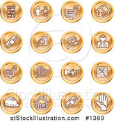 Vector Illustration of Orange Icons: Apartments, Handshake, Real Estate, House, Money, Classifieds, Brick Laying, Businessman, Hardhat and a Key by AtStockIllustration