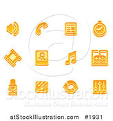 Vector Illustration of Orange Media Icons by AtStockIllustration
