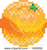 Vector Illustration of Orange Pixel Art 8 Bit Video Game Fruit Icon by AtStockIllustration