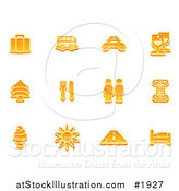 Vector Illustration of Orange Travel Icons by AtStockIllustration
