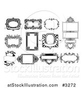 Vector Illustration of Ornate Black and White Frame Designs by AtStockIllustration