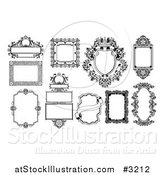 Vector Illustration of Ornate Black and White Frames and Banners by AtStockIllustration