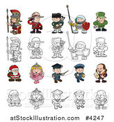 Vector Illustration of Outlined and Colored Children in Costumes by AtStockIllustration