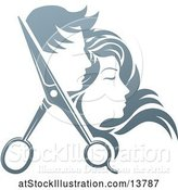 Vector Illustration of Pair of Hair Cutting Scissors with Profiled Male and Female Heads by AtStockIllustration