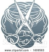 Vector Illustration of Pair of Scissors over Female Heads in Profile by AtStockIllustration