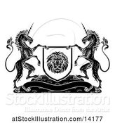 Vector Illustration of Pair of Unicorns Flanking a Lion Shield over a Banner, Black and White by AtStockIllustration