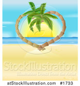Vector Illustration of Palm Tress Curving into a Heart Around a Tropical Ocean Sunset by AtStockIllustration