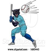 Vector Illustration of Panther Baseball Player Mascot Swinging Bat by AtStockIllustration