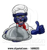 Vector Illustration of Panther Chef Mascot Sign Character by AtStockIllustration