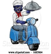 Vector Illustration of Panther Chef Scooter Delivery Mascot by AtStockIllustration