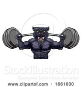 Vector Illustration of Panther Mascot Weight Lifting Body Builder by AtStockIllustration