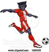 Vector Illustration of Panther Soccer Football Player Sports Mascot by AtStockIllustration
