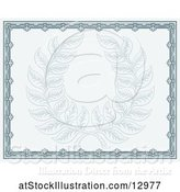 Vector Illustration of Pastel Blue Certificate Design with a Laurel Wreath by AtStockIllustration