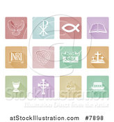 Vector Illustration of Pastel Square Christian Icons and Symbols by AtStockIllustration