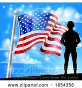 Vector Illustration of Patriotic Soldier American Flag Background Concept by AtStockIllustration