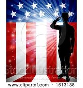 Vector Illustration of Patriotic Soldier Saluting American Flag by AtStockIllustration