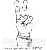 Vector Illustration of Peace Victory Hand Business Suit Two Finger Sign by AtStockIllustration