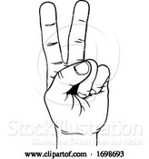 Vector Illustration of Peace Victory Hand Two Finger Sign by AtStockIllustration