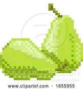 Vector Illustration of Pear Pixel Art 8 Bit Video Game Fruit Icon by AtStockIllustration