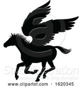 Vector Illustration of Pegasus Silhouette Mythological Winged Horse by AtStockIllustration