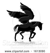 Vector Illustration of Pegasus Silhouette Mythological Winged Horse, on a White Background by AtStockIllustration