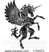 Vector Illustration of Pegasus Unicorn Rearing Rampant Crest Wings Horse by AtStockIllustration