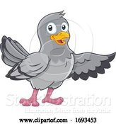 Vector Illustration of Pigeon Dove Bird Pointing with Wing by AtStockIllustration