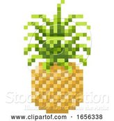 Vector Illustration of Pineapple Pixel Art 8 Bit Video Game Fruit Icon by AtStockIllustration