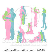 Vector Illustration of Pink Blue and Green Family Silhouettes by AtStockIllustration