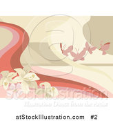 Vector Illustration of Pink Butterflies with Flowers Background by AtStockIllustration