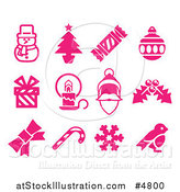 Vector Illustration of Pink Christmas Item Icons by AtStockIllustration