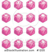 Vector Illustration of Pink Cube Icons: Arrows, Joystick, Button, Printer, Information, Compose, Reminder, Calculator and Cubes by AtStockIllustration