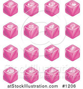 Vector Illustration of Pink Cube Icons: Searches, View Finders, Www, Magnifying Glasses, Dogs, Flashlight, and Spider by AtStockIllustration