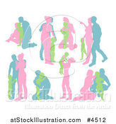 Vector Illustration of Pink Green and Blue Silhouetted Families by AtStockIllustration