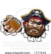 Vector Illustration of Pirate American Football Sports Mascot by AtStockIllustration