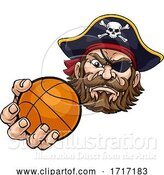 Vector Illustration of Pirate Basketball Ball Sports Mascot by AtStockIllustration