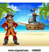 Vector Illustration of Pirate Captain Beach Ship Background by AtStockIllustration