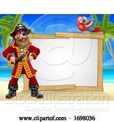 Vector Illustration of Pirate Captain Beach Sign by AtStockIllustration
