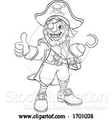 Vector Illustration of Pirate Captain Black and White Outline by AtStockIllustration