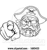 Vector Illustration of Pirate Captain Character Mascot Pointing by AtStockIllustration