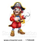 Vector Illustration of Pirate Captain Mascot Pointing by AtStockIllustration
