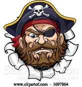 Vector Illustration of Pirate Captain Mascot Tearing Background by AtStockIllustration