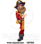Vector Illustration of Pirate Captain Peeking Pointing Sign by AtStockIllustration