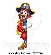 Vector Illustration of Pirate Captain Peeking Sign Background by AtStockIllustration