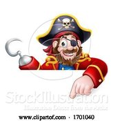 Vector Illustration of Pirate Captain Pointing Sign Background by AtStockIllustration