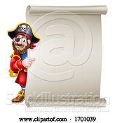 Vector Illustration of Pirate Captain Scroll Sign Background by AtStockIllustration