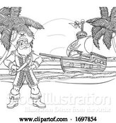 Vector Illustration of Pirate Captain Ship Coloring Background by AtStockIllustration